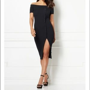 Eva Mendes Daveena Midi Black Sweater Dress Sz XL